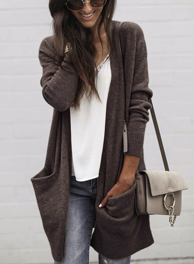 Loose Fit Solid Color Open Front Cardigan with Pockets