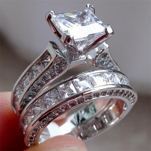 Luxury 100% Really 925 Sterling silver Ring Set 2-in-1 Wedding Band Jewelry For Women 15ct 7*7mm Princess-cut Topaz Gemstone Rings finger