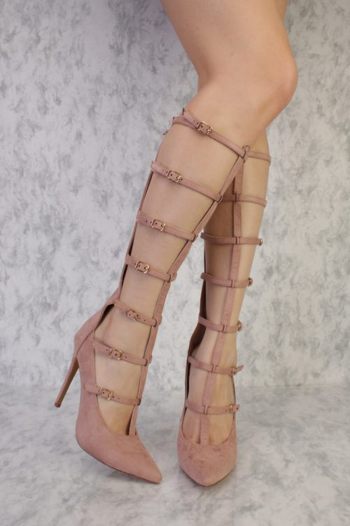 Mauve T-Strap Cutout Pointy Toe Single Sole Gladiator High Heel