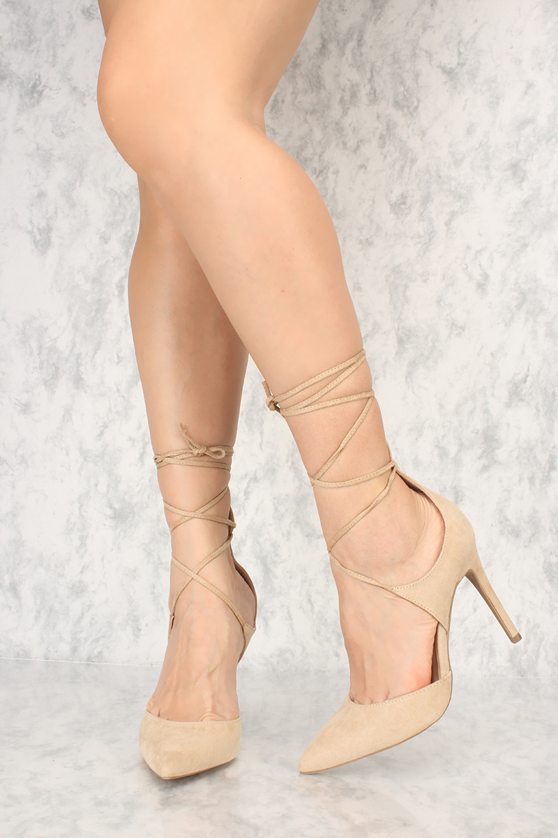 Natural Criss Cross Ankle Lace Up Single Sole High Heel Suede