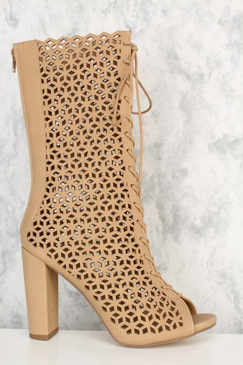 Natural Perforated Cut Out Front Lace Up Peep Toe Boots Nubuck Faux Leather