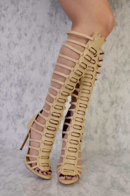 Natural Strappy Open Toe Single Sole Gladiator High Heels Faux Leather