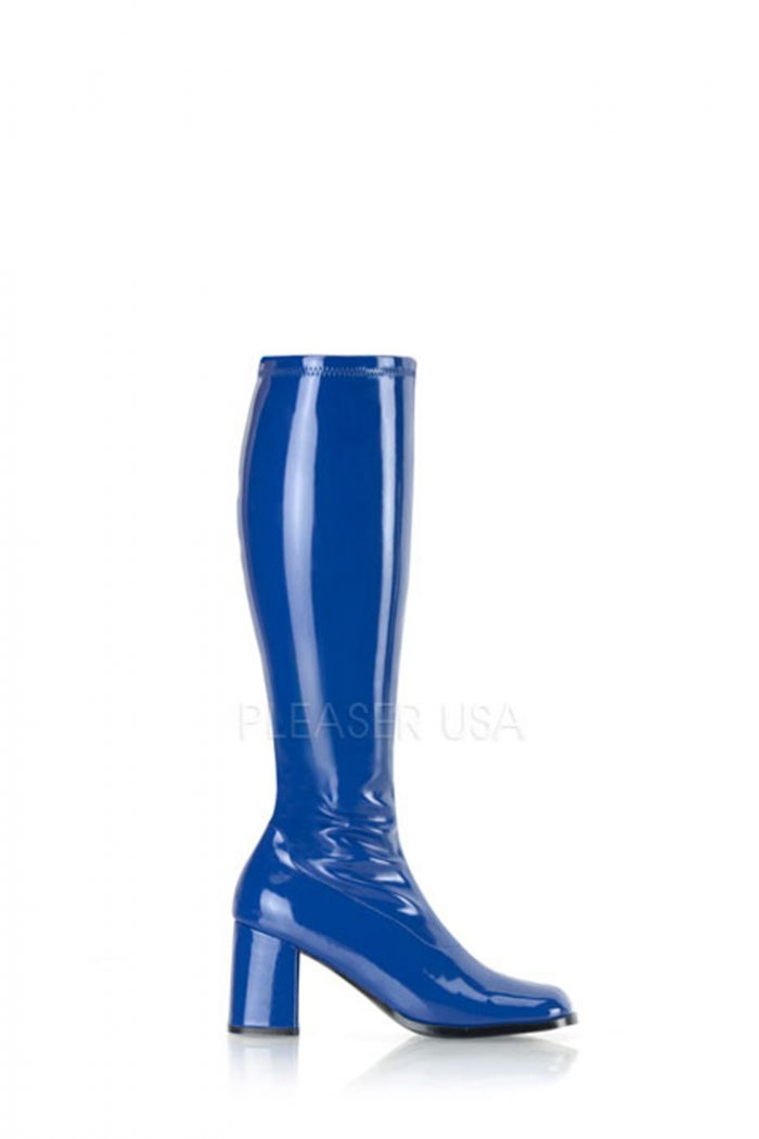 Navy Blue Chunky Heel GoGo Boots Patent Faux Leather