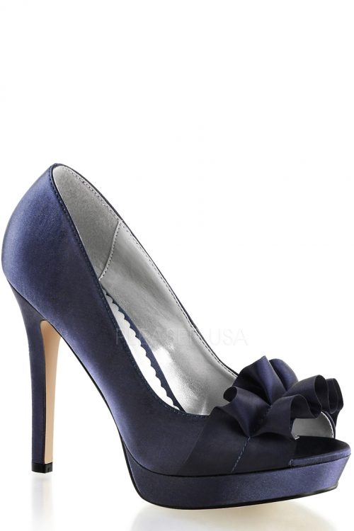 Navy Blue Peep Toe Pump Heels Satin