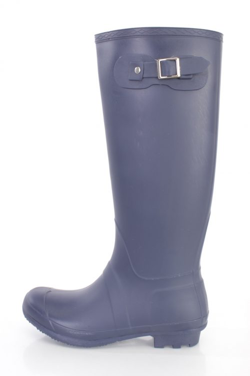 Navy Round Closed Toe Slip On Rain Boots Rubber