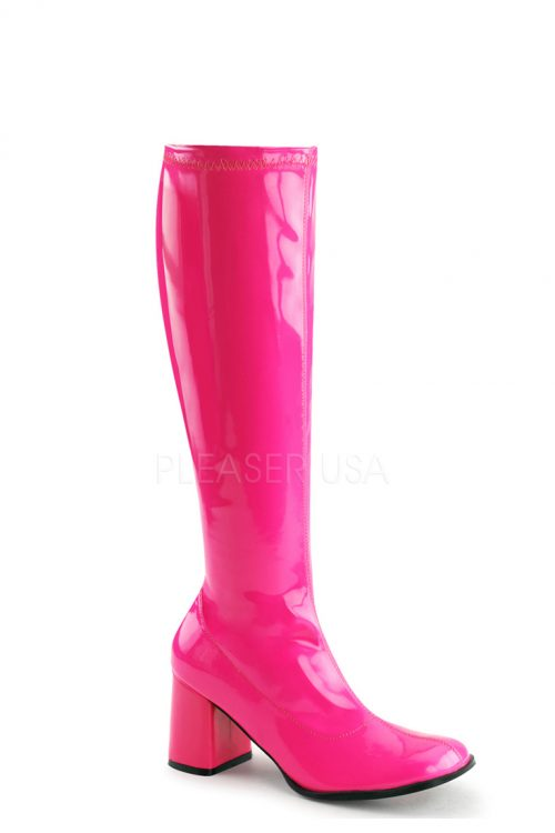 Neon Hot Pink Chunky Heel GoGo Boots Patent Faux Leather