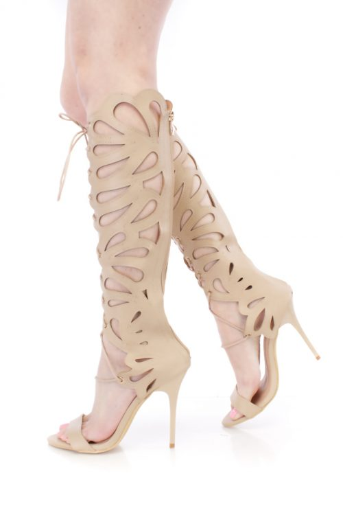 Nude Cut Out Lace Up Single Sole Gladiator Heels Faux Leather