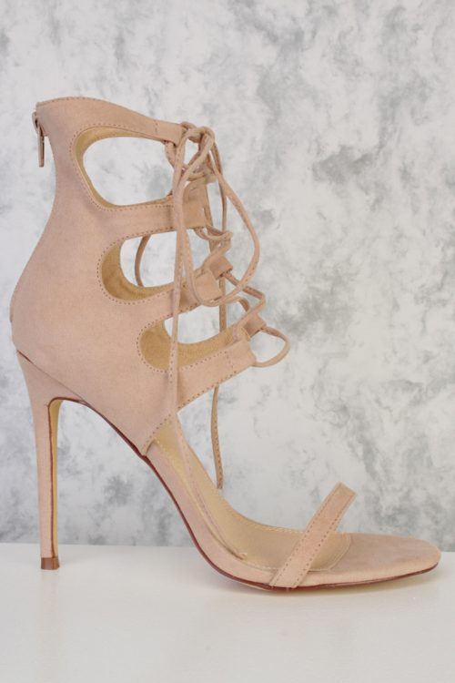 Nude Front Cut Out Lace Up Open Toe Single Sole High Heel Suede