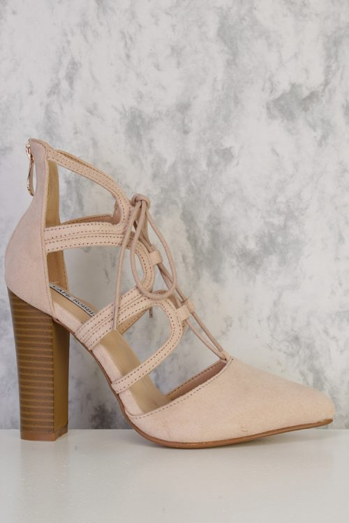 Nude Front Lace Up Cut Out Chunky Heel Faux Suede