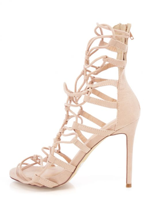 Nude Lace Up Strappy Single Sole Heels Faux Suede