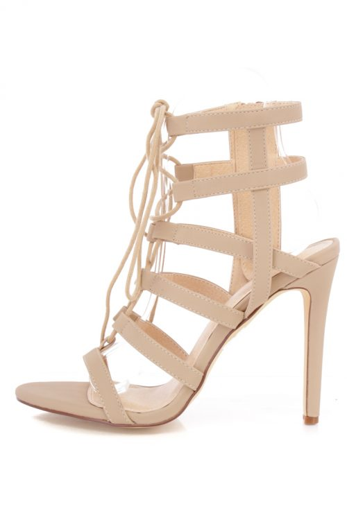 Nude Open Toe Faux Leather High Heels