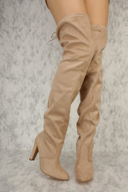 Nude Slouchy Round Pointy Toe Thigh High Chunky Heel Boots Suede