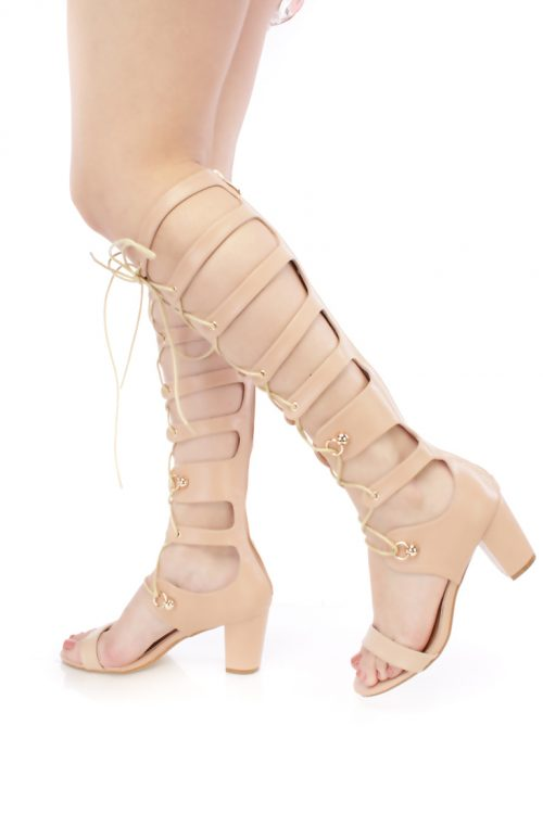 Nude Strappy Lace Up Single Sole Gladiator Chunky Heels Faux Leather