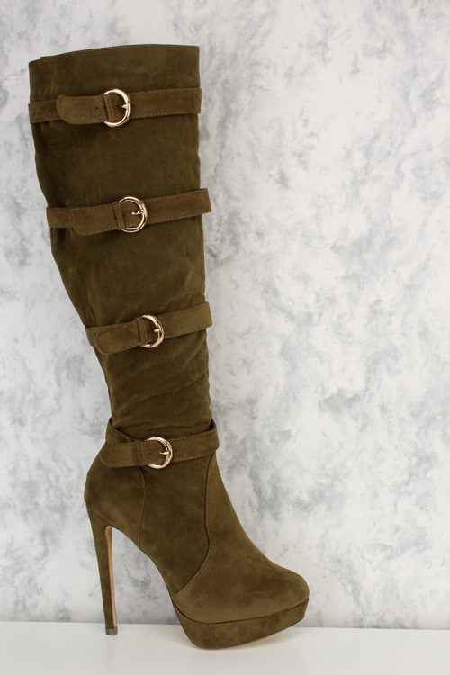 Olive Buckle Strap Accent Pointy Round Toe Knee High Heel Boots Platform Faux Suede