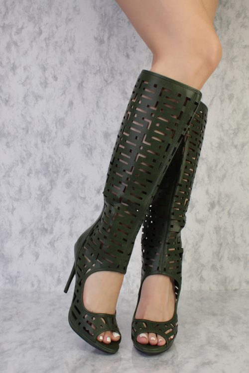 Olive Detailed Perforated Cutout Single Sole Peep Toe Knee High Boots Faux Leather