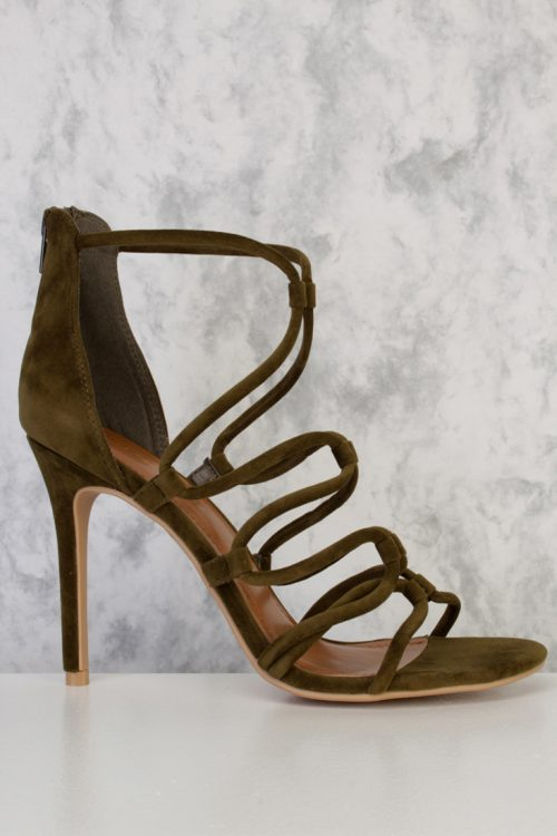 Olive Strappy Open Toe Single Sole High Heel Faux Suede