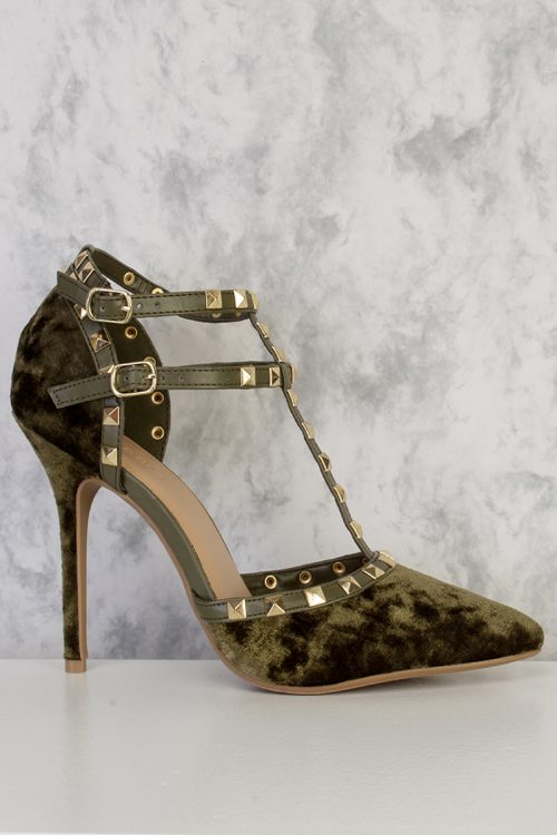 Olive Studded Double Strap Buckled Ankle Closure Closed Pointy Toe Single Sole High Heel Velvet