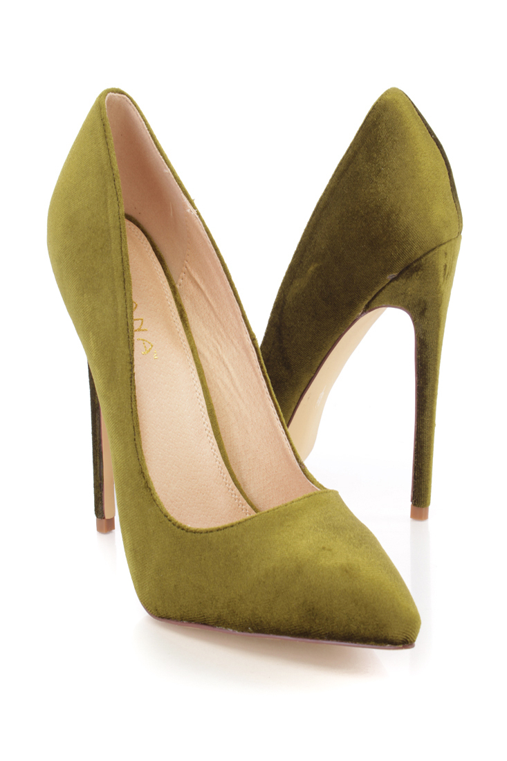 Olive Velvet Glowey Single Sole High Heels