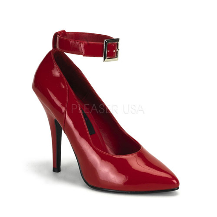 Red Ankle Strap Single Sole Heels Patent