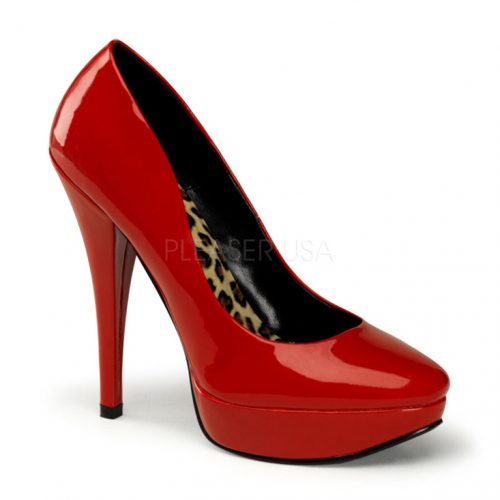 Red Patent Faux Leather Pump Heels