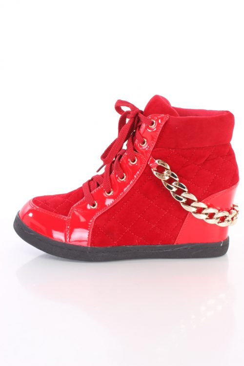 Red Quilted Chain Strap Sneaker Wedges Faux Suede