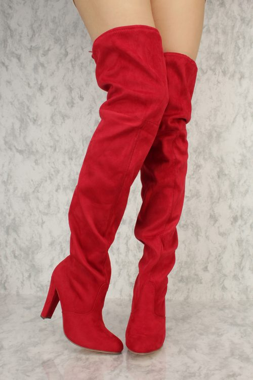 Red Slouchy Round Pointy Toe Thigh High Chunky Heel Boots Suede