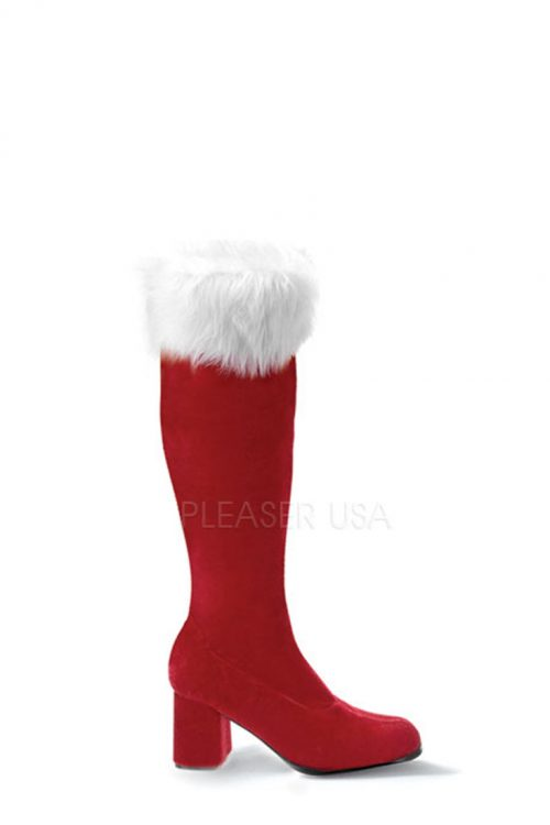Red White Faux Fur Cuffed Santa Boots Velvet