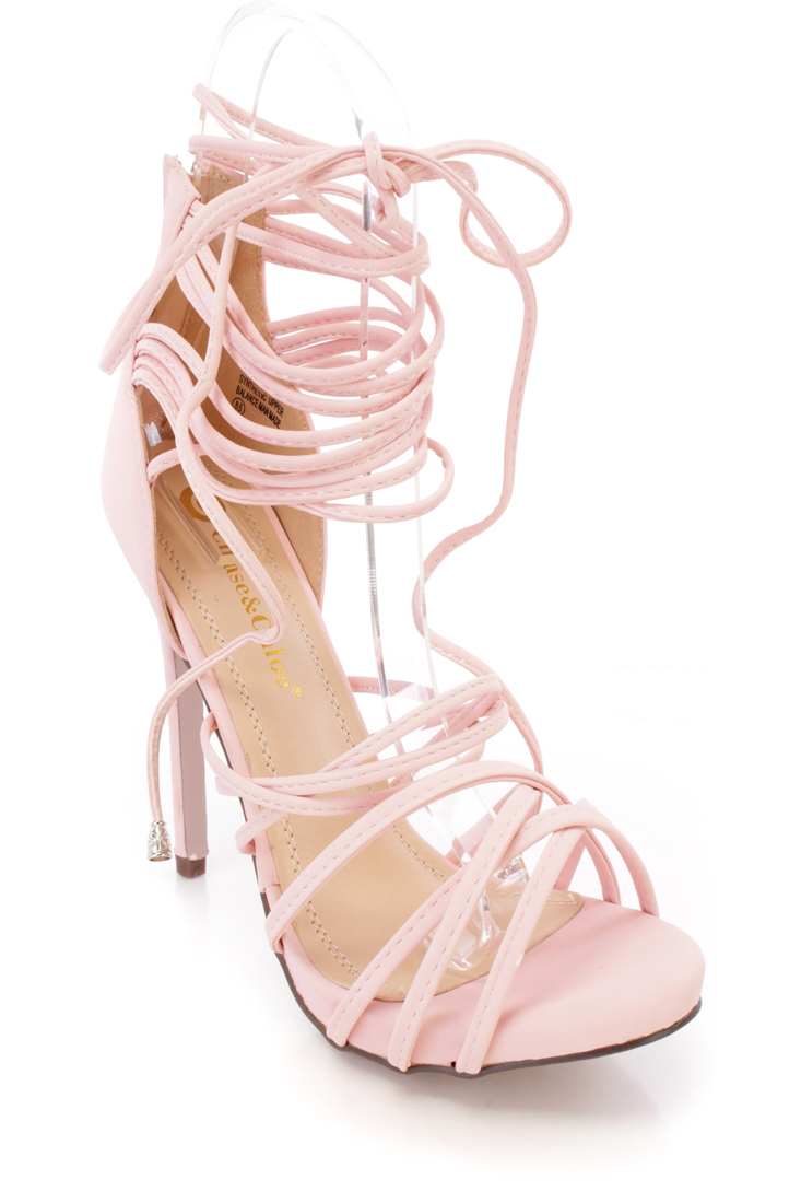Rose Pink Ankle Lace Up Peep Toe High Heel Nubuck