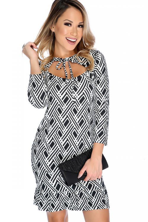 Sexy Black White Printed Design Cut Out Neckline Ruffled Hem Casual Party Dress