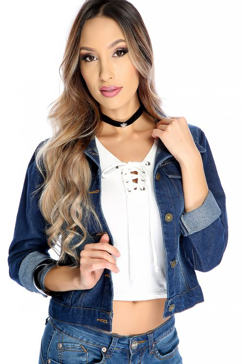 Sexy Blue Denim Collard Rolled Up Sleeves Front Button Up Closure Jacket