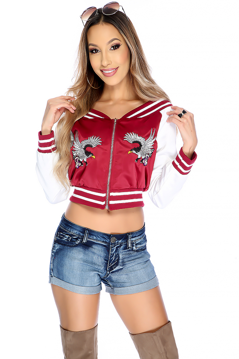 Sexy Wine Two Tone Long Sleeve Eagle Embroidered Crop Top Jacket