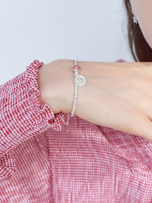 Silver Crystal And Coin Pendant Pearl Embellished Bracelet