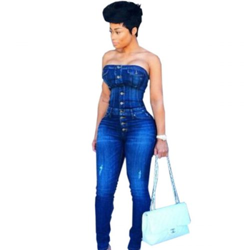 Skinny Female Denim Jumpsuit High Quality Button Hole Strapless Catsuit Fashion Woman Bodycon Sexy Club Partywear