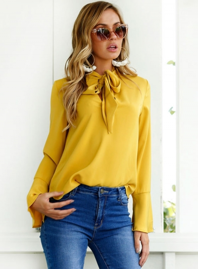 Solid TIe Collar Long Sleeve Pullover Blouse