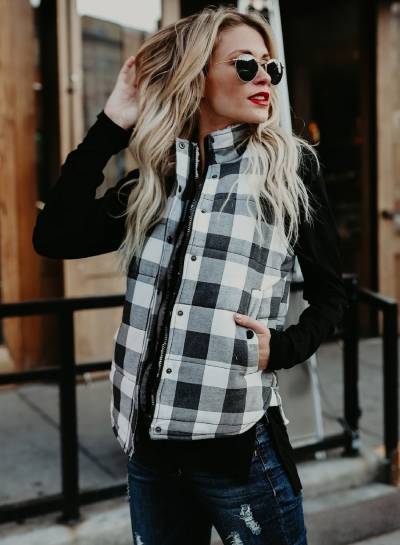 Stand Collar Sleeveless Plaid Cotton Padded Vest