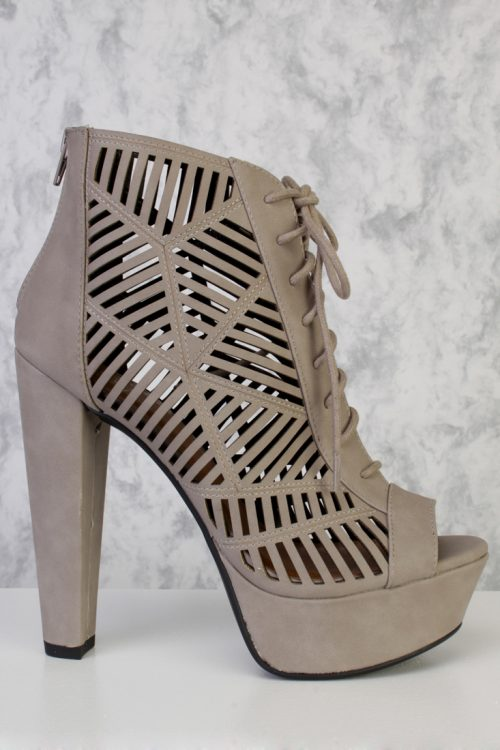 Stone Perforated Heel Cut Out Front Lace Up Chunky Heel Pumps Nubuck