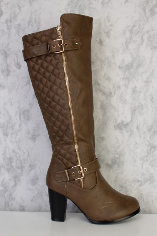 Tan Buckle Accent Stitched Quilted Boots Faux Leather