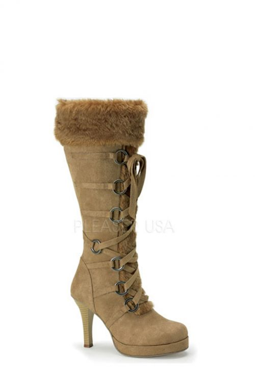 Tan Lace Up Faux Fur Knee High Boots Microfiber