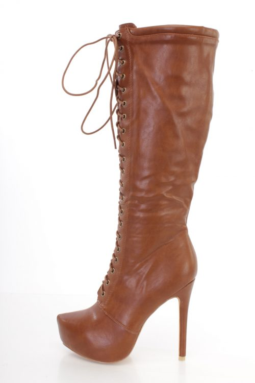 Tan Lace Up Platform High Heel Boots Faux Leather