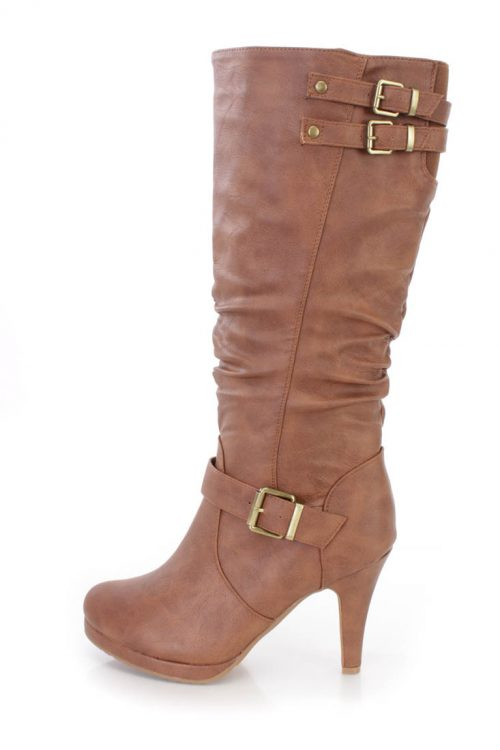 Tan Mid Calf Slouchy High Heel Boots Faux Leather