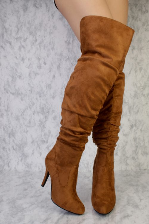 Tan Pleaded Round Pointy Toe Over The Knee Single Sole High Chunky Heel Boots Faux Suede