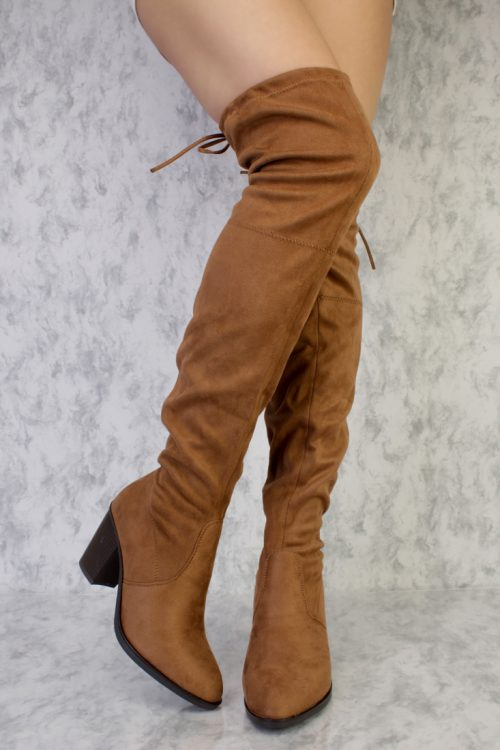 Tan Pointy Toe Thigh High Single Sole Chunky Heel Boots Faux Suede