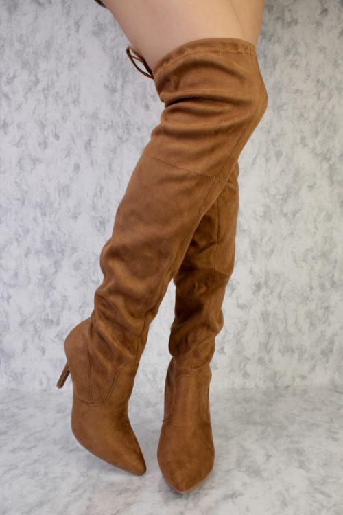 Tan Pointy Toe Thigh High Single Sole Stiletto High Heel Faux Suede Boots
