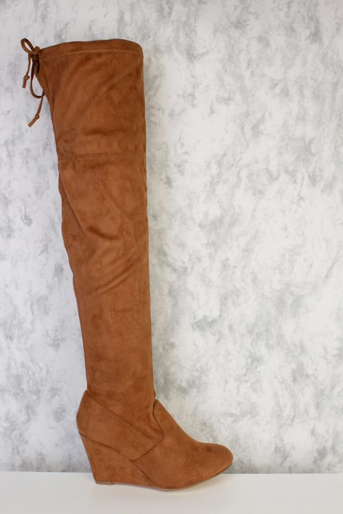 Tan Round Pointy Toe Knee High Wedge Boots Faux Suede
