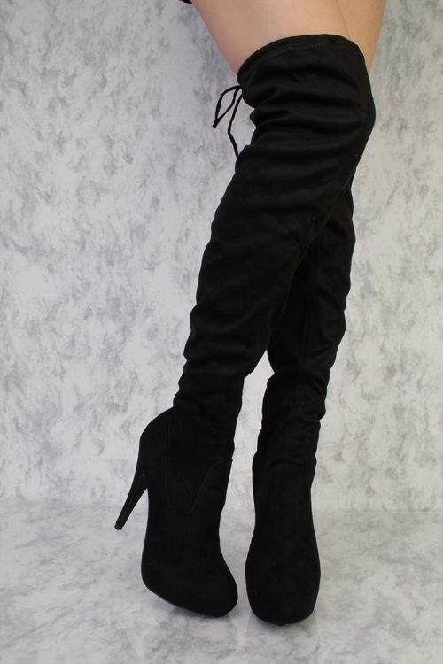 Tan Round Pointy Toe Knee Thigh High Heel Boots Faux Suede