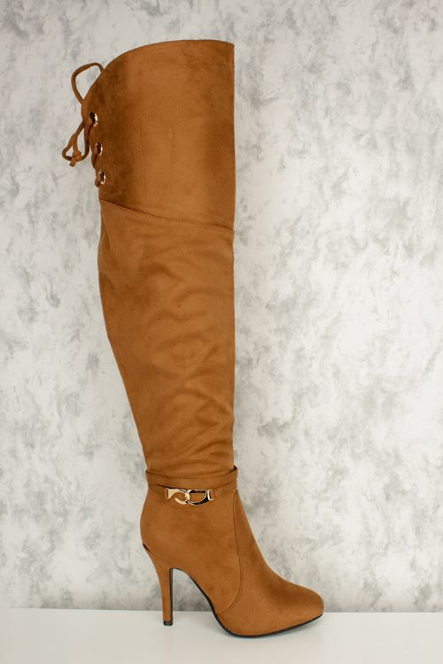 Tan Round Pointy Toe Tassel Fringe Over The Knee Single Sole Heel Boots Faux Suede