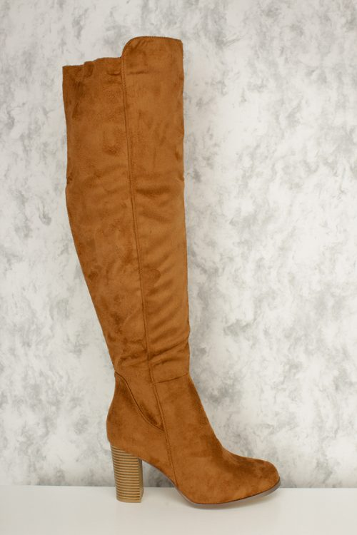 Tan Round Toe Knee High Chunky Heel Boots Faux Suede
