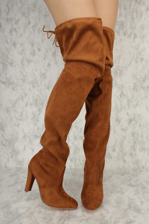Tan Slouchy Round Pointy Toe Thigh High Chunky Heel Boots Suede