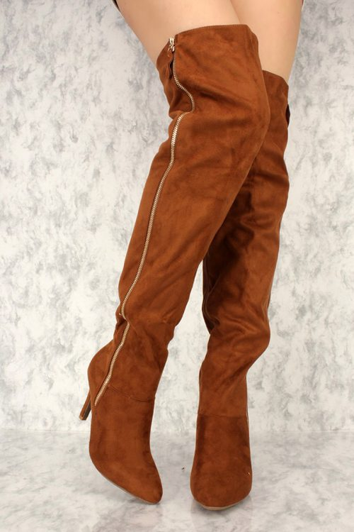 Tan Thigh High Single Sole Boots Faux Suede