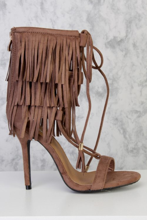 Taupe Ankle Strap Layer Fringe Lace Up Tassel Accent High Heels Faux Suede